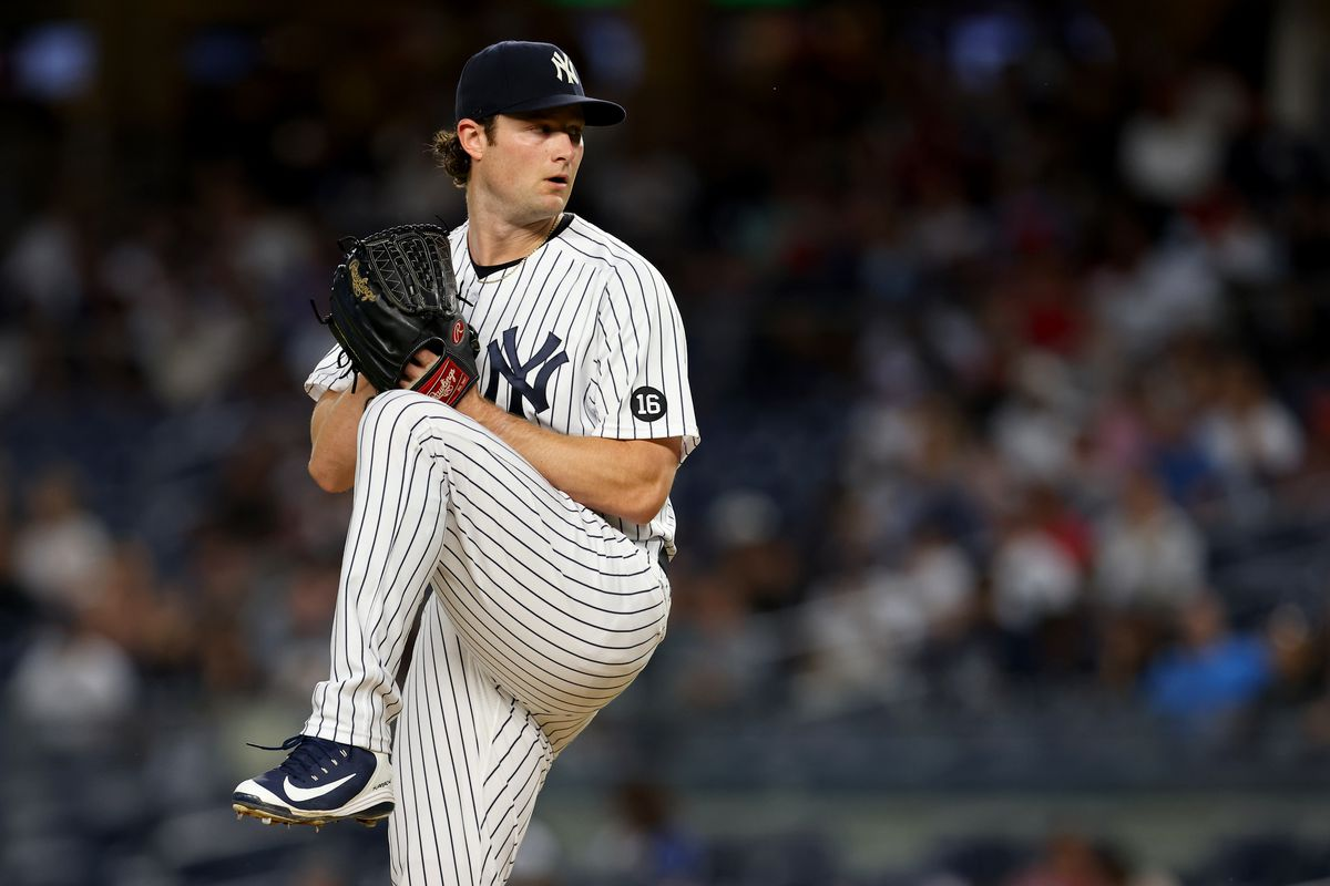 Gerrit Cole #45 of the New York Yankees in action against the Toronto Blue Jays during a game at Yankee Stadium on September 7, 2021 in New York City.
