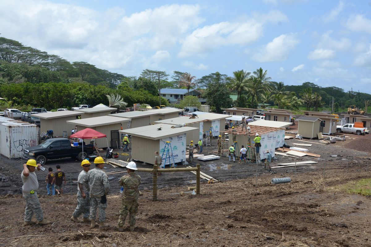 Engineers from the 230th Vertical Engineer Company, Hawaii National Guard, construct 20 microshelters in Pahoa, Hawaii, June 9, 2018.