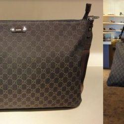 "<a href=""http://cgi.ebay.com/New-Gucci-Unisex-GG-Denim-Messenger-Corssbody-Bag-/180682390377?pt=US_CSA_WH_Handbags&hash=item2a11827b69#ht_9105wt_1141"" rel=""nofollow"">Gucci unisex cross-body bag</a>, currently at $299 on eBay"