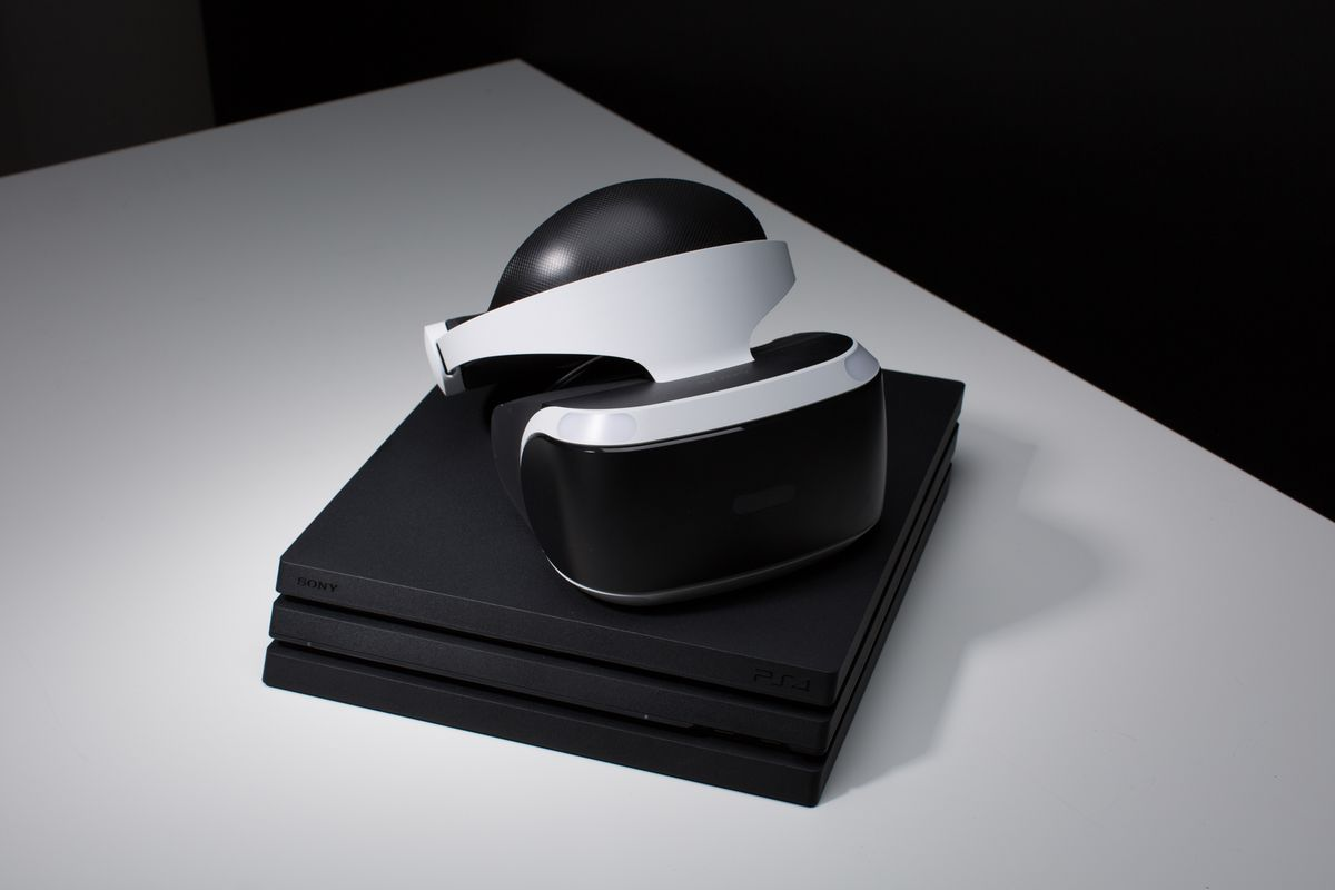 PlayStation VR sitting on top of a PlayStation 4 Pro