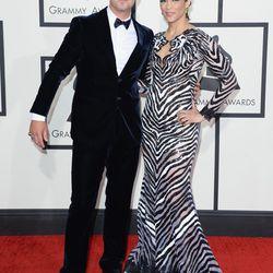 Robin Thicke in Giorgio Armani with Paula Patton in a zebra situation by