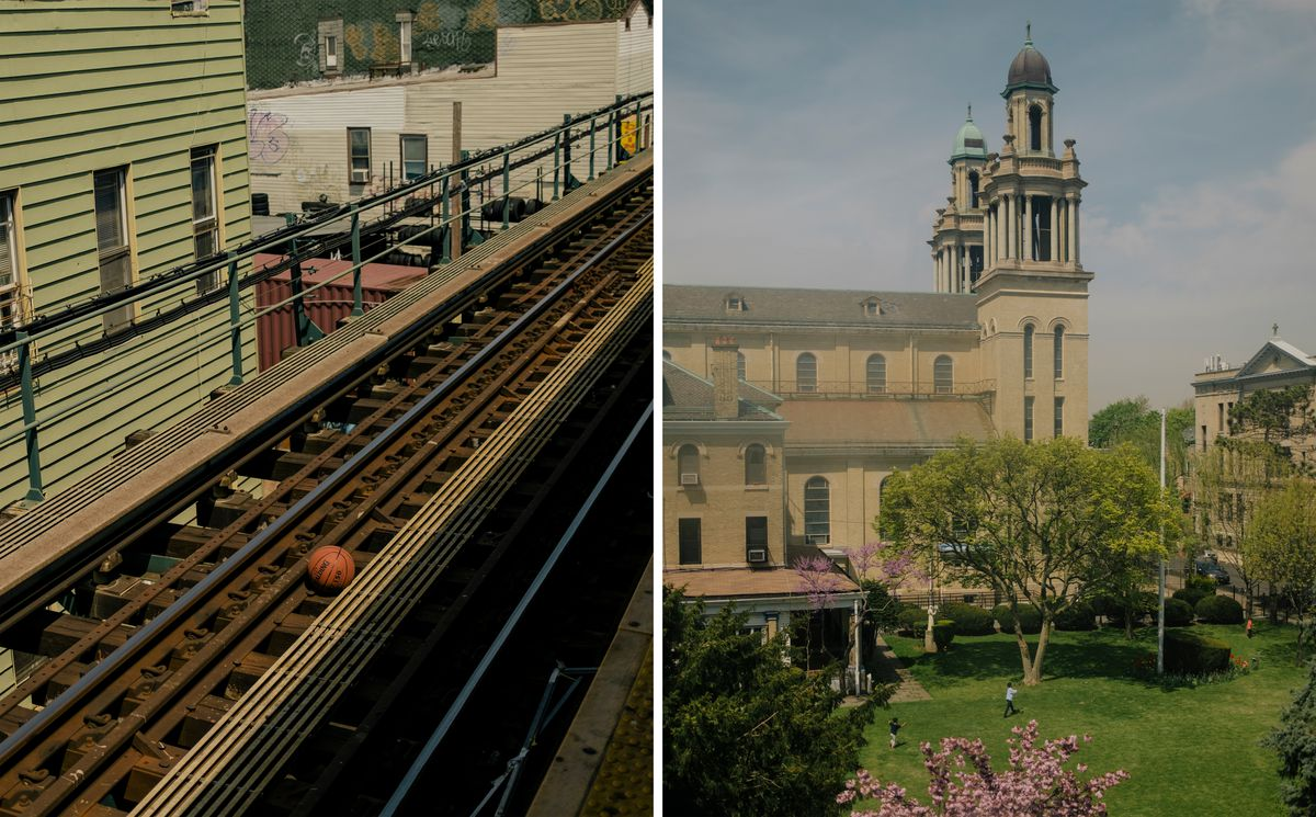 (Left) An orange basketball rests on subway tracks with a green building in the background. (Right) Three children play in the courtyard of a large church, with pink flowers and trees framing them in the center of the yard.