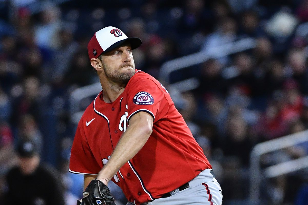 Max Scherzer of the Washington Nationals delivers a pitch during the spring training game against the Houston Astros at FITTEAM Ballpark of the Palm Beaches on February 22, 2020 in West Palm Beach, Florida.