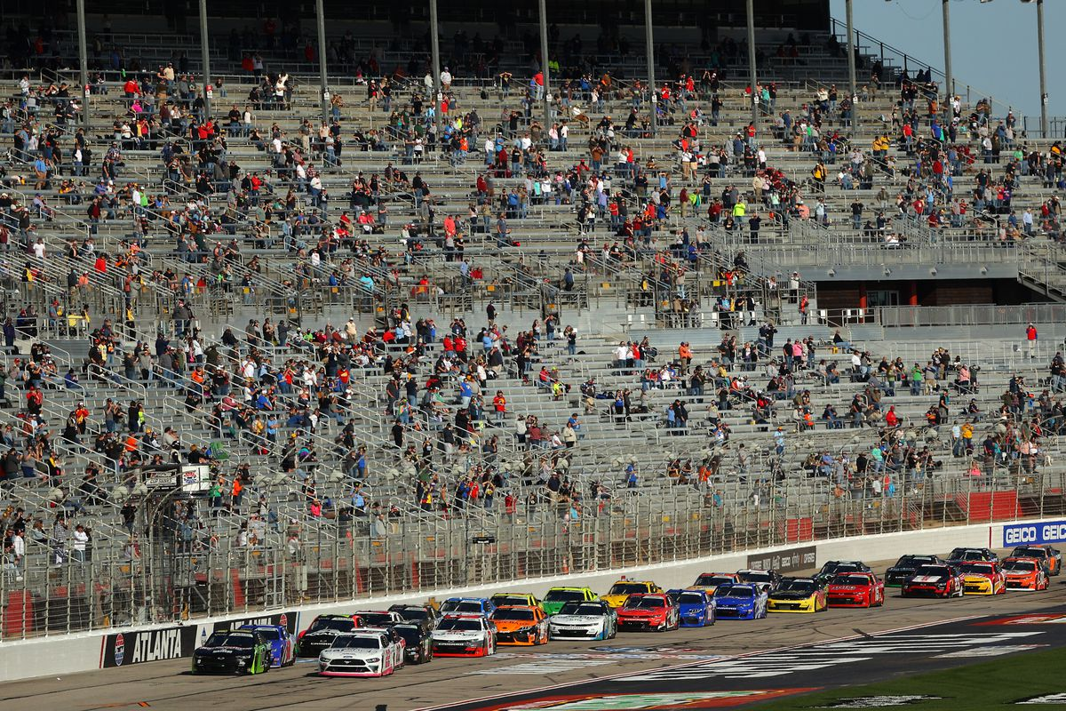 A general view of the start of the NASCAR Xfinity Series EchoPark 250 at Atlanta Motor Speedway on March 20, 2021 in Hampton, Georgia.