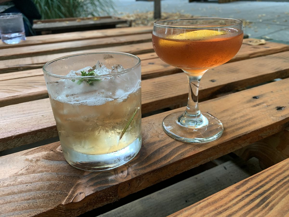 Two drinks at Santé Bar in downtown Portland