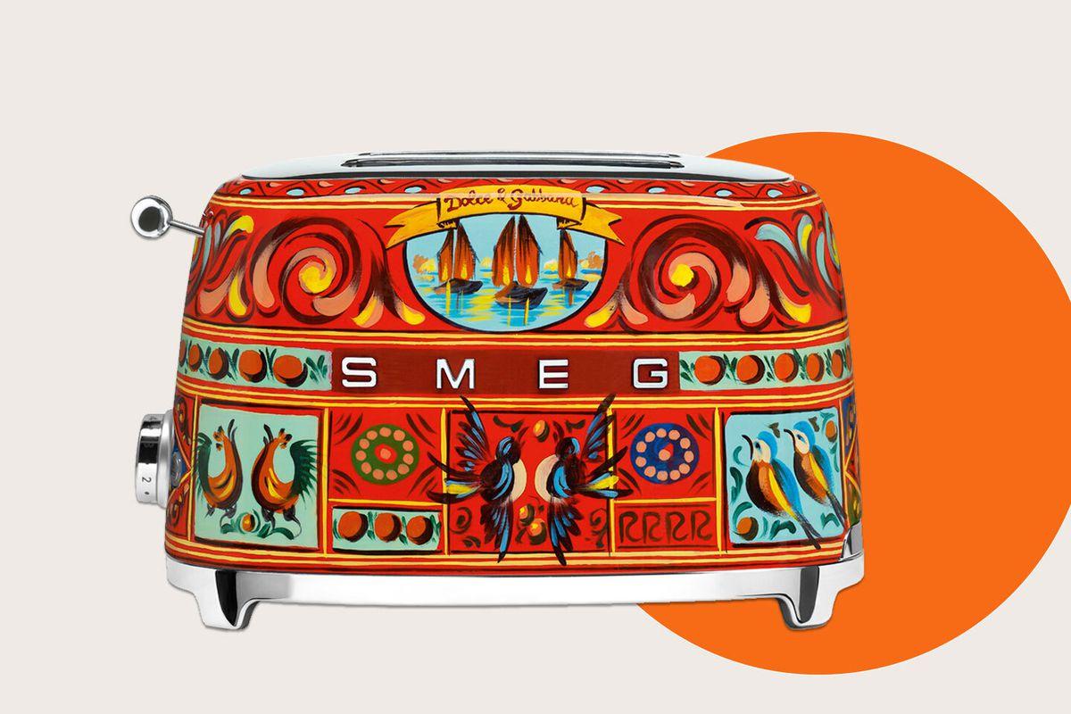 An elaborately patterned Smeg toaster