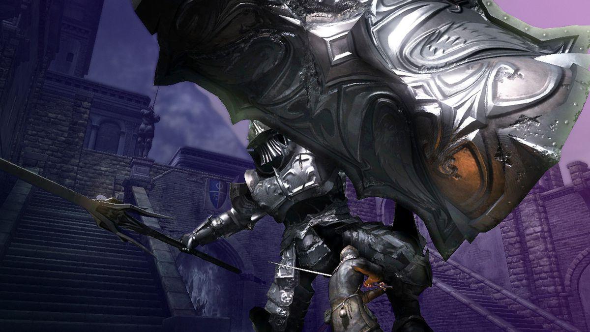 Boss battle from Demon's Souls video game