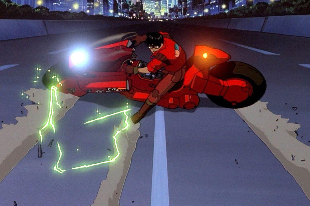 Kaneda skids his motorcycle in Akira
