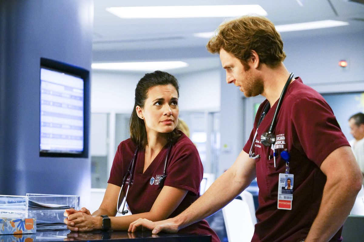 """Torrey DeVitto as Natalie Manning and Nick Gehlfuss as Will Halstead in a scene from """"Chicago Med."""" 