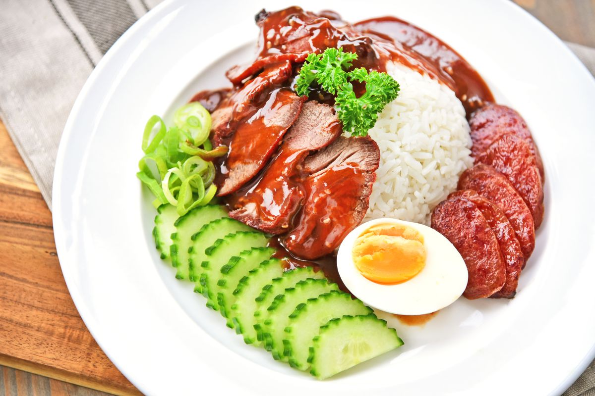 A picture of Thai pork with rice
