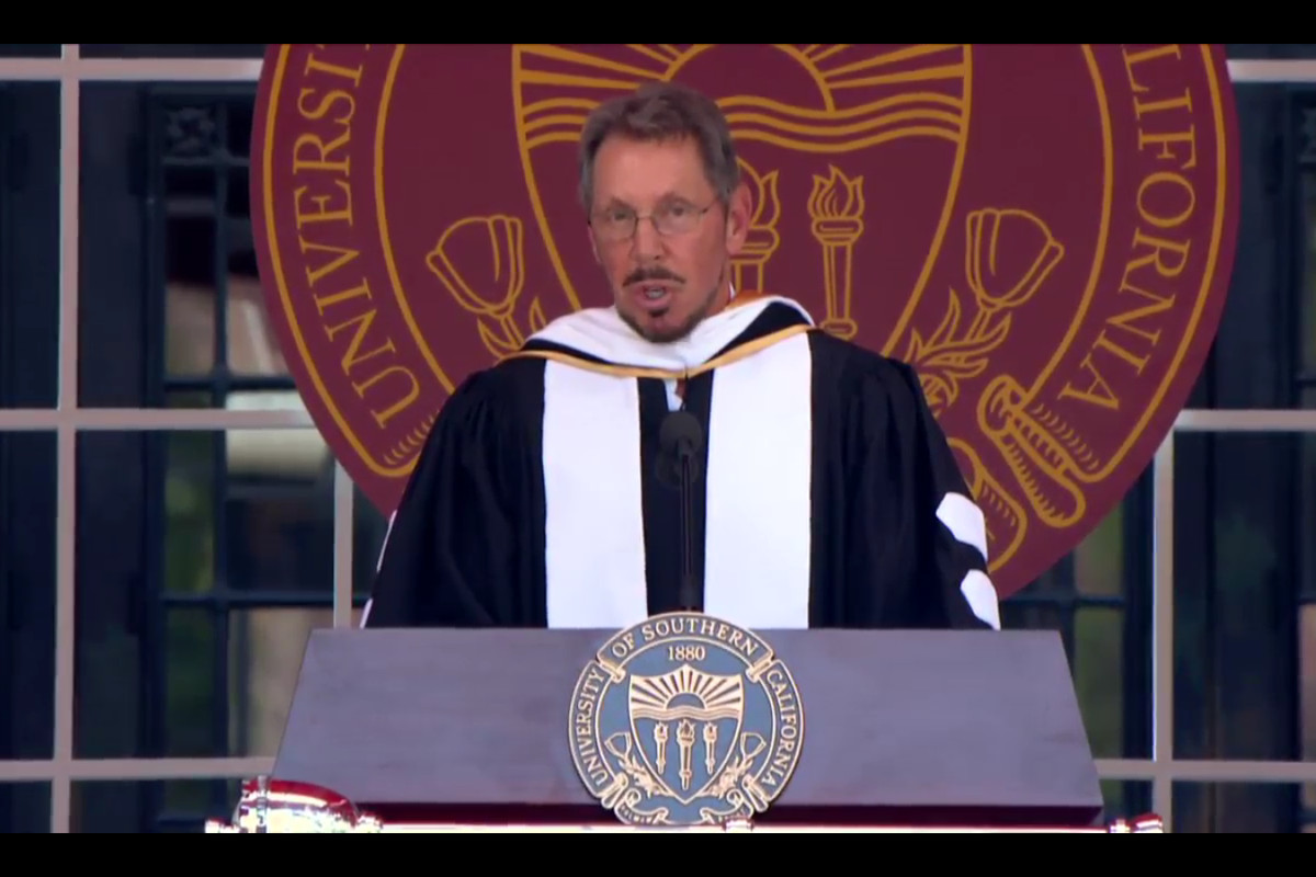 Larry Ellison talked about a long hike with Steve Jobs in USC's commencement speech