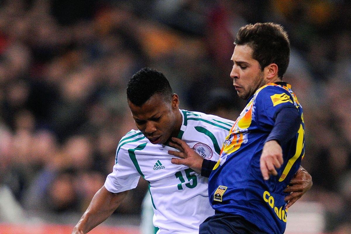 Jordi Alba in action against Nigeria