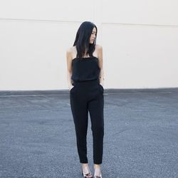 """Ann of <a href=""""http://www.andyheart.com""""target=""""_blank""""> Andy Heart</a> is wearing a <a href=""""http://www.zara.com/us/en/woman/dresses/strapless-jumpsuit-c269185p1408028.html""""target=""""_blank""""> Zara</a> jumpsuit, Celine sandals and a <a href=""""http://mirlone"""