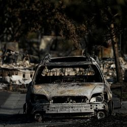 The burned-out shell of a car is seen on Saturday, Sept. 19, 2020, in a neighborhood in Talent, Ore., that was destroyed by the Almeda Fire.