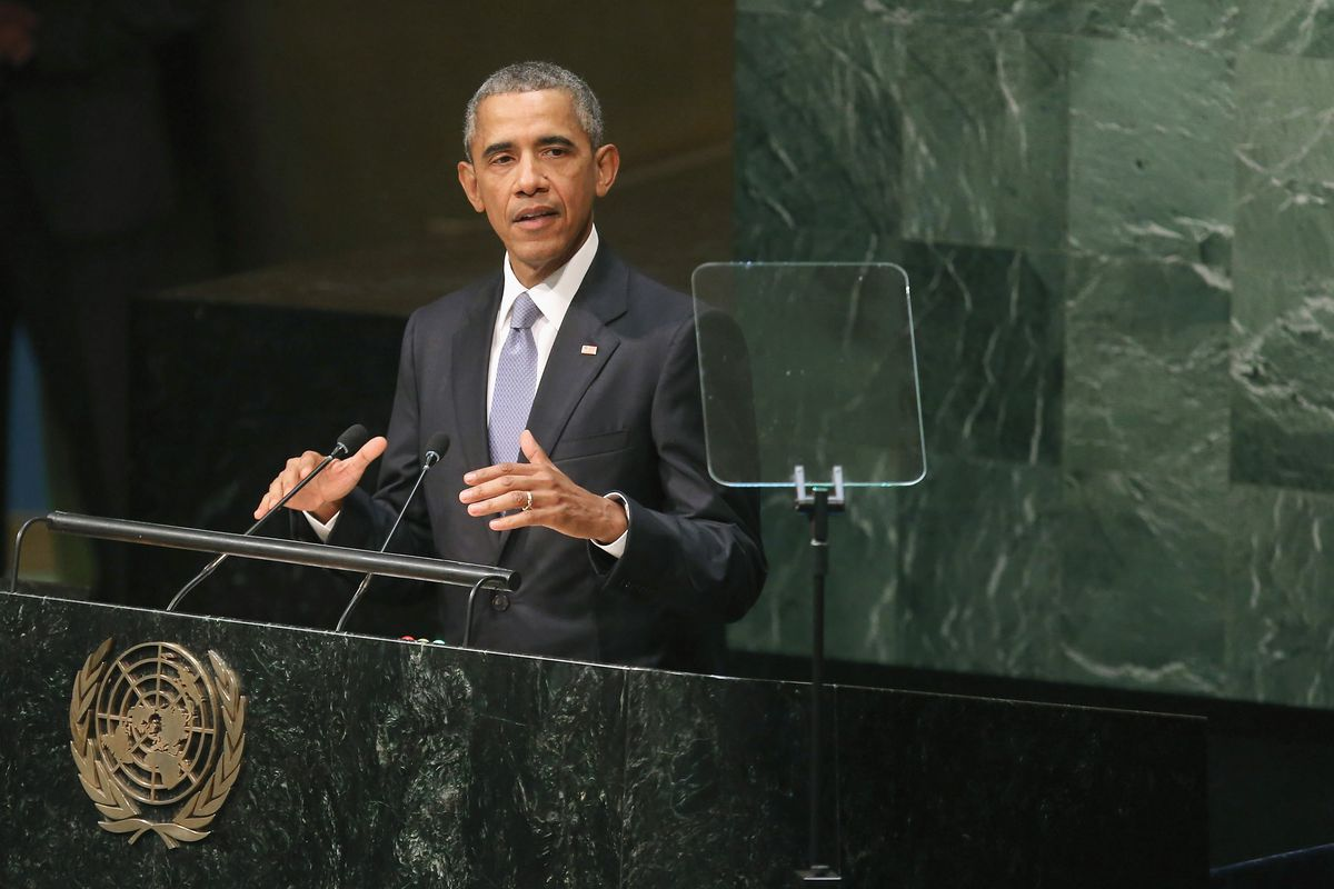 President Obama speaks at the UN General Assembly.
