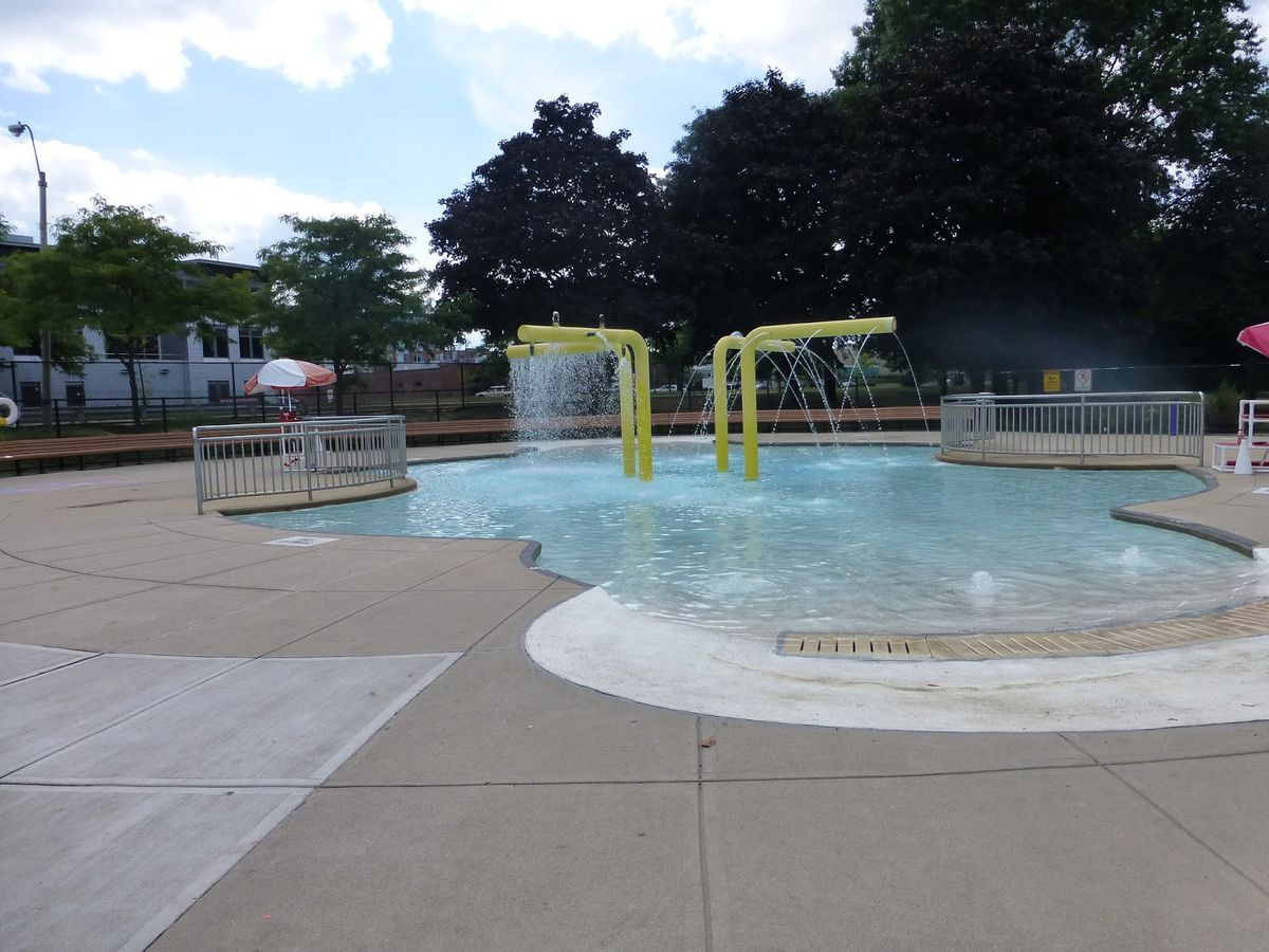 An outdoor swimming pool.