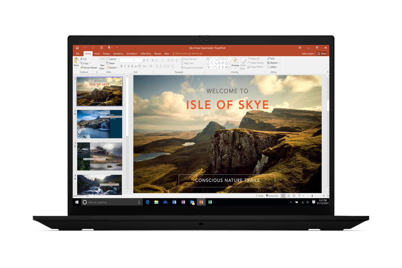 Lenovo ThinkPad X1 Extreme Gen 4 open, facing the camera, on a white background. The screen displays a Powerpoint slide advertising the Isle of Sky.