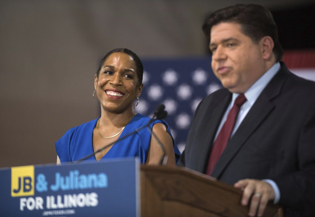 Democratic candidate for governor J.B. Pritzker appears with his running mate in the 2018 election, state Rep. Juliana Stratton at a news conference Thursday, Aug. 10, 2017 in Chicago. (Max Herman/Sun Times via AP)