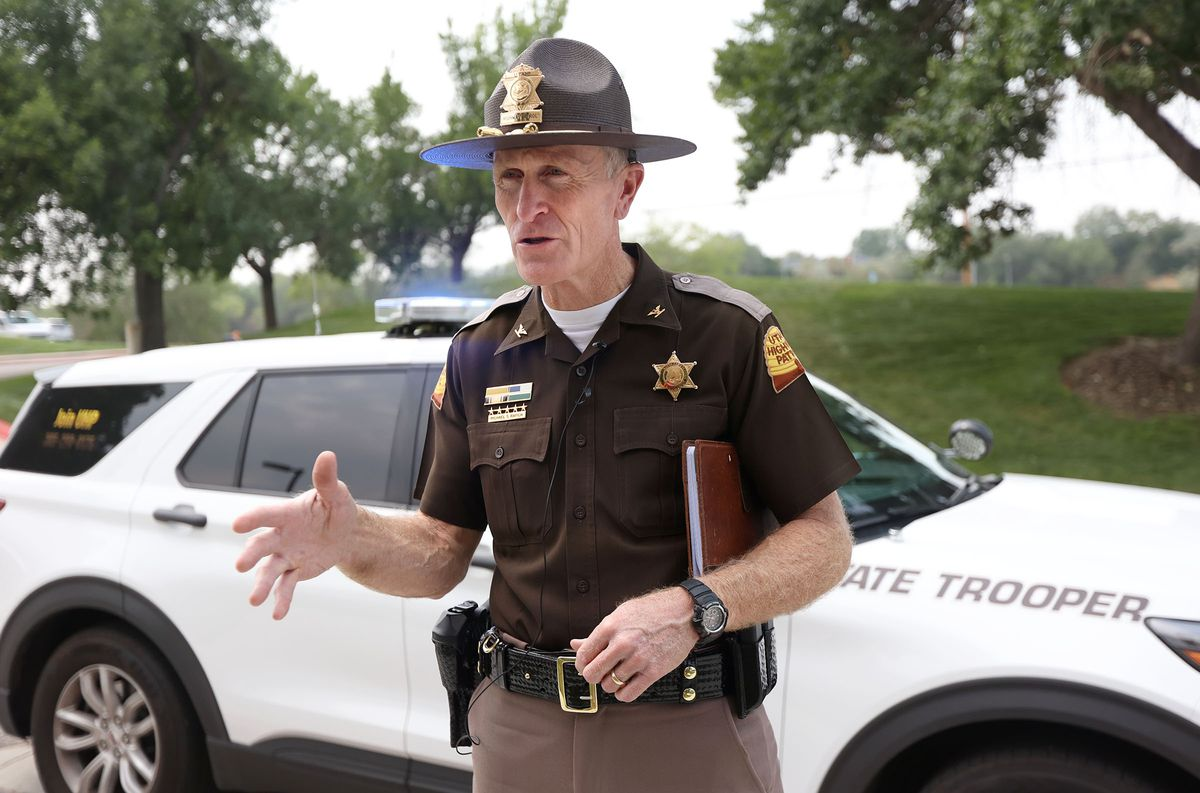 Utah Highway Patrol Col. Michael S. Rapich talks about the number of UHP troopers that have been hit while working on the side of the road during a press conference outside of UHP headquarters in Taylorsville on Tuesday, Aug. 17, 2021. Two UHP troopers have been hit while stopped on the shoulder of the road in recent weeks.