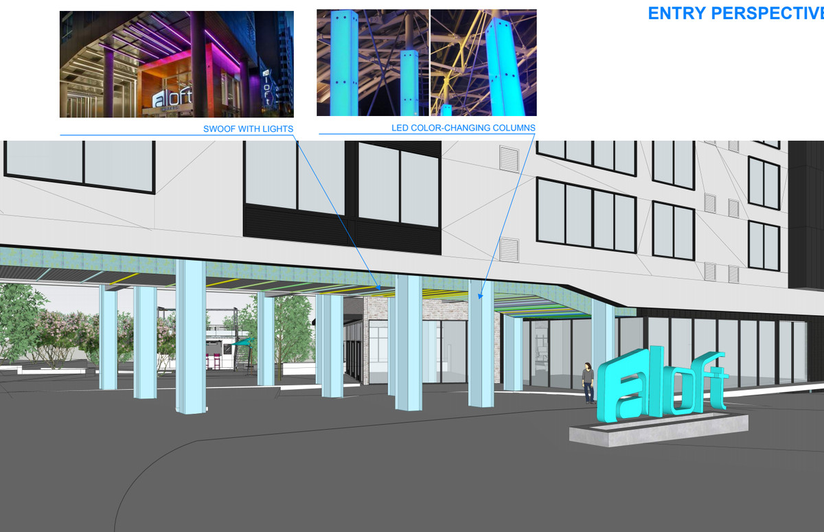 """A rendering shows how the hotel entrance would be complemented by LED-lit columns and plants. A bright blue """"Aloft"""" sign sits out front."""