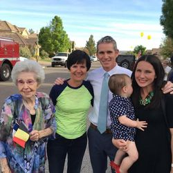 Joseph Dresden Empey is welcomed home by family and friends, Wednesday, April 6, 2016.