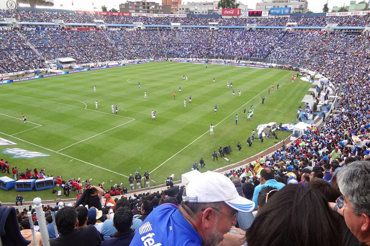 Cruz Azul fans at Estadio Azul, used under Creative Commons license