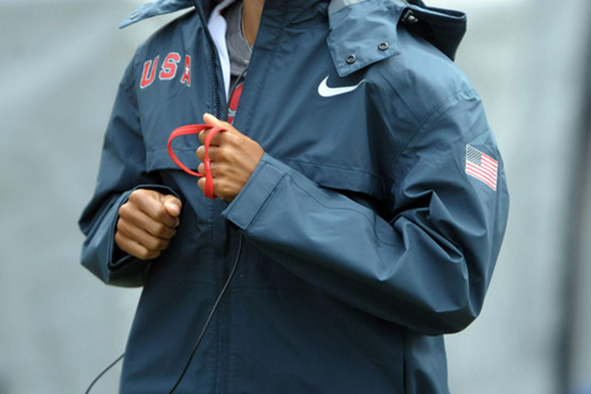 Apr 28, 2012; Philadelphia, PA, USA; Allyson Felix warms up with headphones at the 118th Penn Relays at Franklin Field. Mandatory Credit: Kirby Lee/Image of Sport-US PRESSWIRE