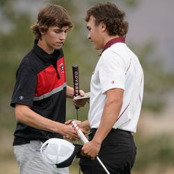 Juab High School's Kauner Kay, right, shakes hands with a Granstville High School player during the 3A boys state championship at Oquirrh Hills Golf Course in Tooele on Thursday, Oct. 7, 2021.