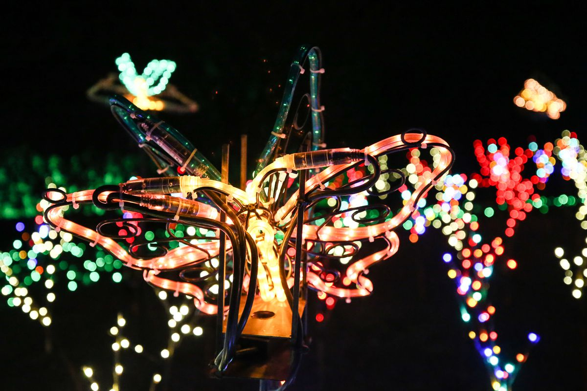 A butterfly made of lights is pictured as part of the Luminarialight display at Ashton Gardens at Thanksgiving Point in Lehi on Thursday, Dec. 10, 2020.