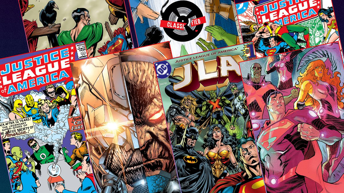 Graphic featuring seven different covers of Justice League comics