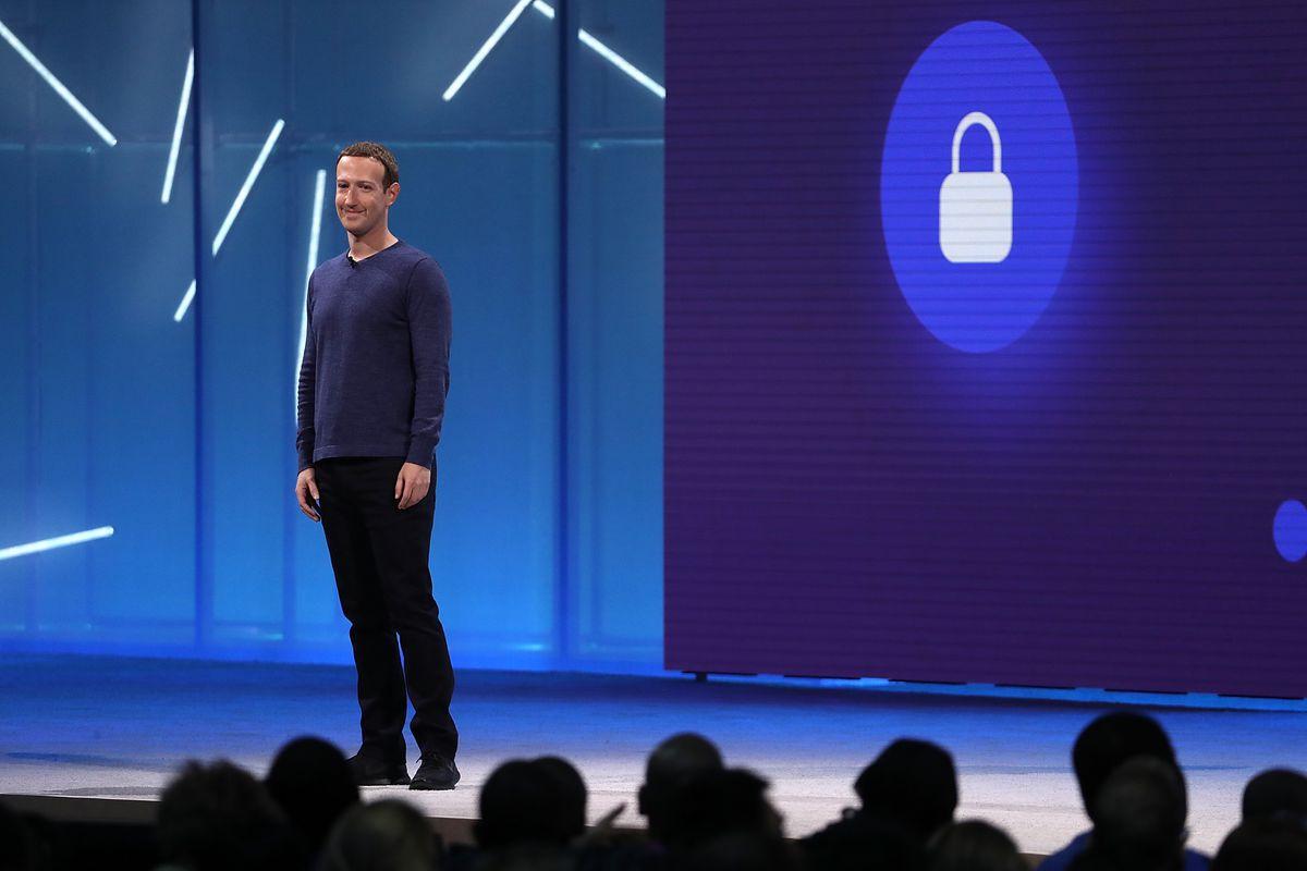 Mark Zuckerberg onstage at F8 Facebook Developer Conference