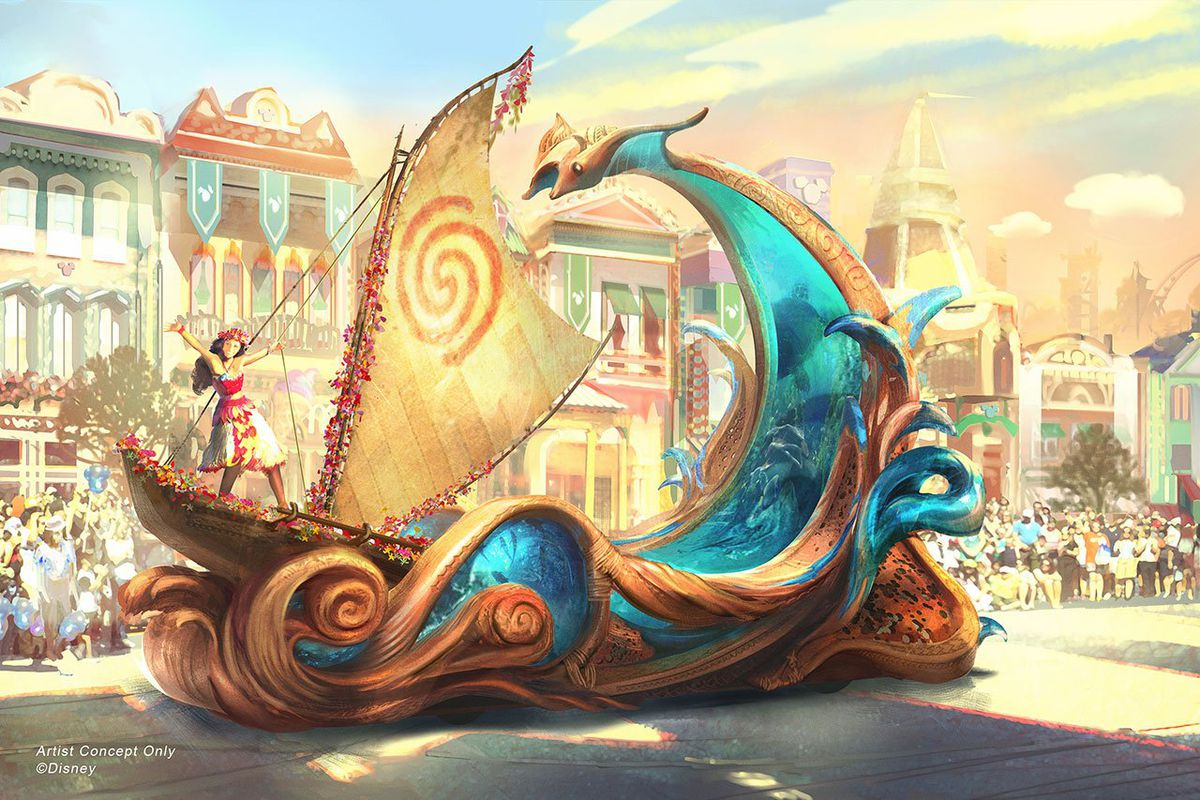 An actress  playing Moana stands on a boat riding a wave in an innovative new parade float