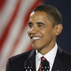 Barack Obama smiles during his acceptance speech at Grant Park. | AP photo