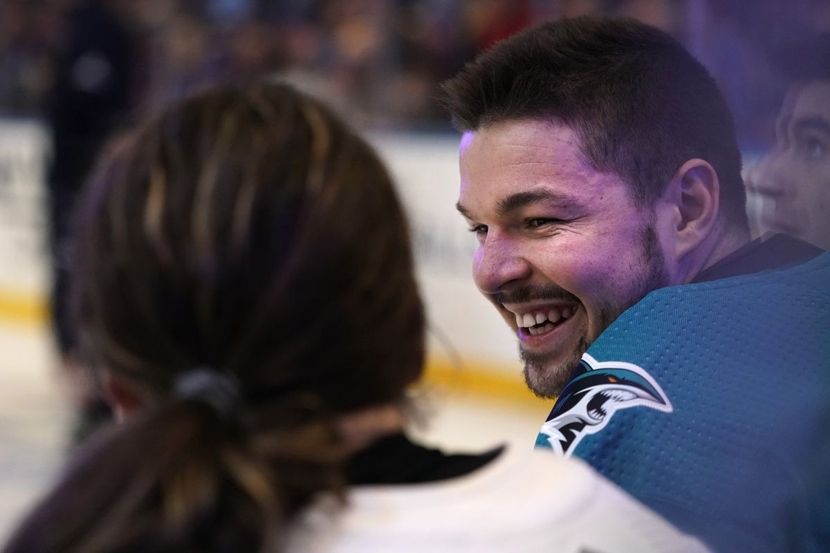 ST LOUIS, MISSOURI - JANUARY 24: Tomas Hertl #48 of the San Jose Sharks smiles during the 2020 NHL All-Star Skills at Enterprise Center on January 24, 2020 in St Louis, Missouri.