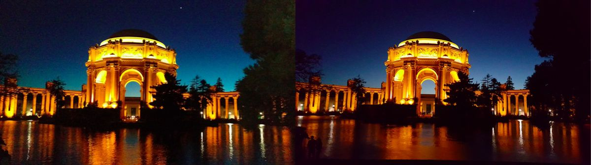 Evening shot by One M9 (left) and Galaxy S6 (right)