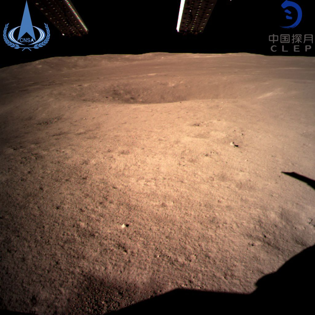 The first image of the far side of the moon taken by the Chang'e-4 probe.