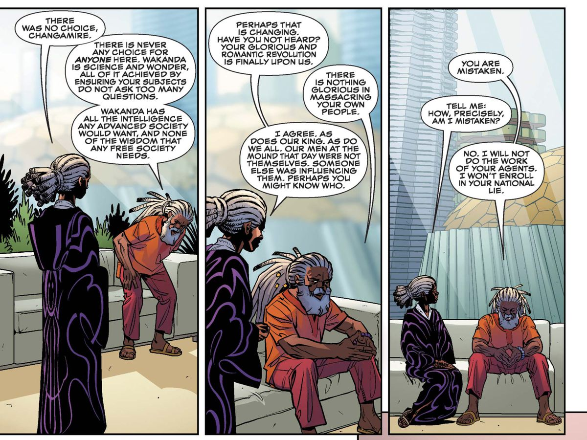 """""""Wakanda, is science and wonder, all of it achieved by ensuring your subjects do not ask too many questions,"""" Changamire tells the Queen, """"Wakanda has all the intelligence any advanced society would want, and none of the wisdom that any free society needs,"""" in Black Panther #4, Marvel Comics (2016)."""