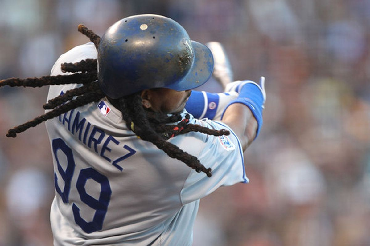 A shot of Manny Ramirez #99 of the Los Angeles Dodgers with an octopus under his batting helmet.