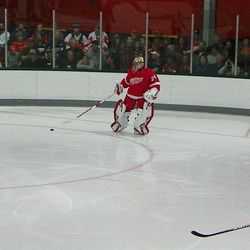 Petr Mrazek comes out to play the puck