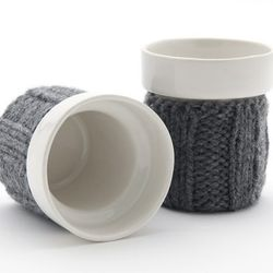 Knit Cozy Cup ($19.95) - Cups can be cozy, cuddly and warm too! The cozy koozie insulates your hands and keeps your drink warm.