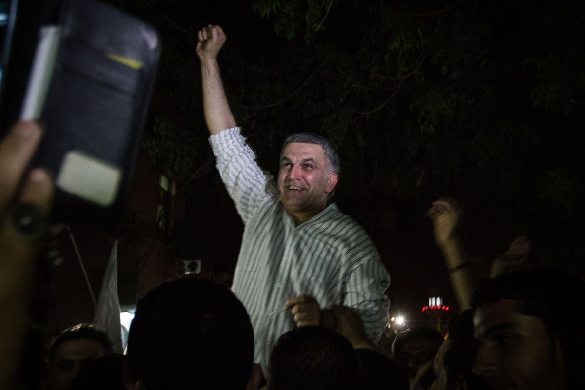 Nabeel Rajab on his May 2014 release from prison
