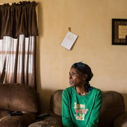 In this Thursday, Jan. 21, 2016 photo, Barbara Noel, mother of Michael Noel, discusses her account of the Dec. 21, 2015 shooting death of her son by a St. Martin Parish Sheriff's deputy at her home in St. Martinville, La. A State Police report says Michael was killed during a struggle when he resisted deputies' efforts to take him into protective custody and drive him to a hospital.