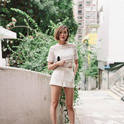 """Chriselle of <a href=""""http://thechrisellefactor.com""""target=""""_blank"""">The Chriselle Factor</a> is wearing a <a href=""""http://www.revolveclothing.com/three-floor-about-you-top-in-white/dp/TFLO-WS5/?d=F&utm_source=cj&utm_medium=affiliate&utm_campaign=44413"""