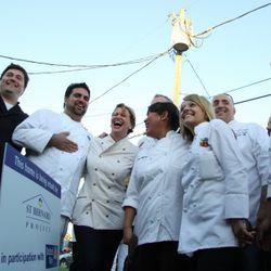 (left to right) Chefs Wesley True, Victor Albisu, Michelle Bernstein, Lee Anne Wong, Kelsey Nixon, Peter Vauthy, James Siao