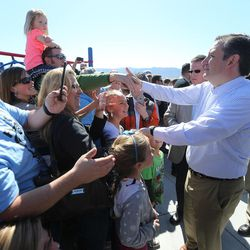 GOP presidential candidate and Texas Sen. Ted Cruz greets supporters following a rally in Draper at the American Preparatory Academy Saturday, March 19, 2016.