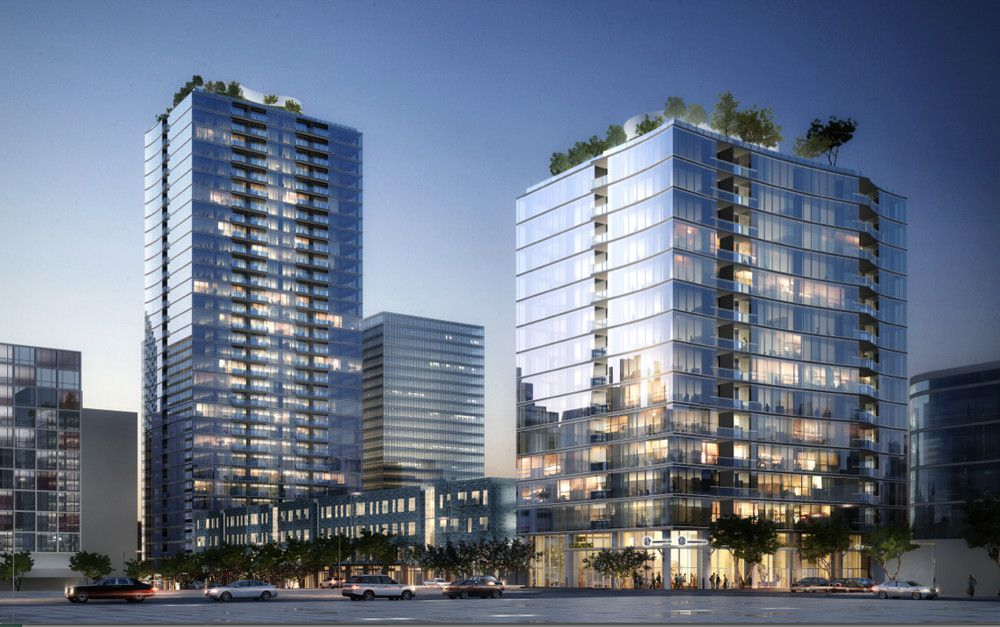 Rendering showing the towers from street level