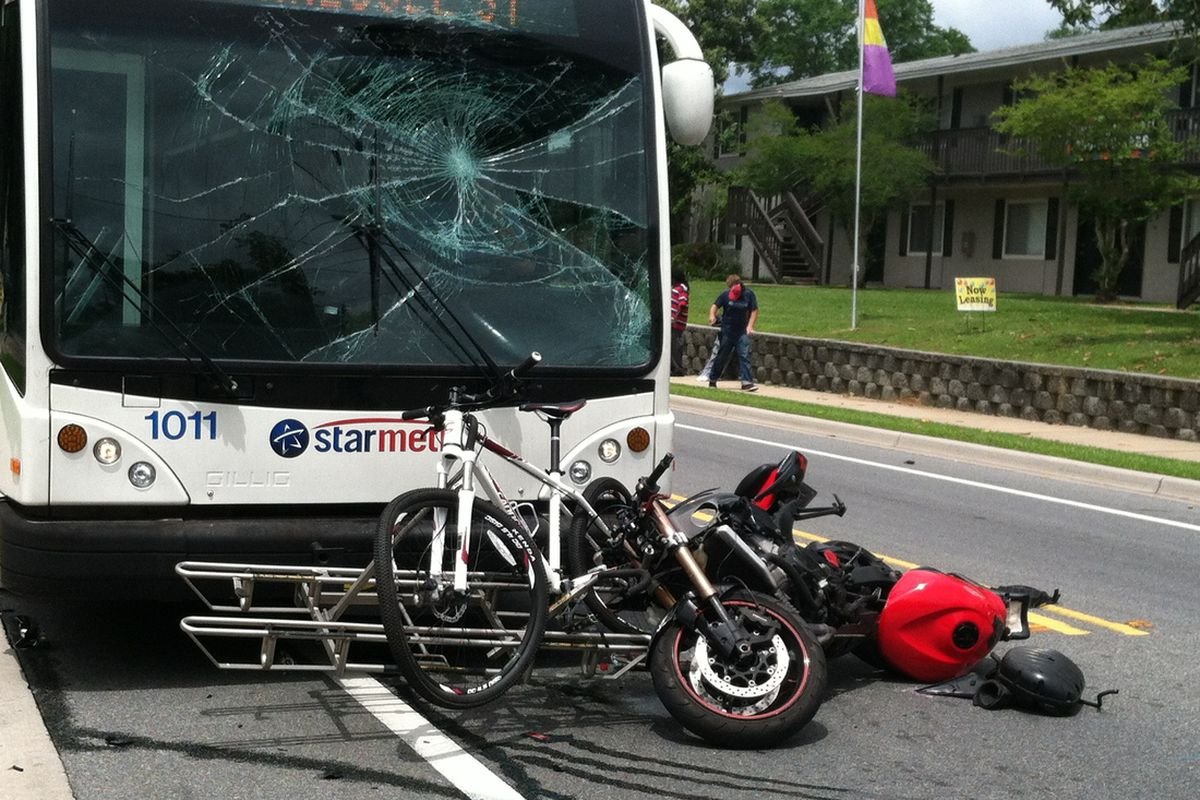 Damage to the bus, motorcycle and bike