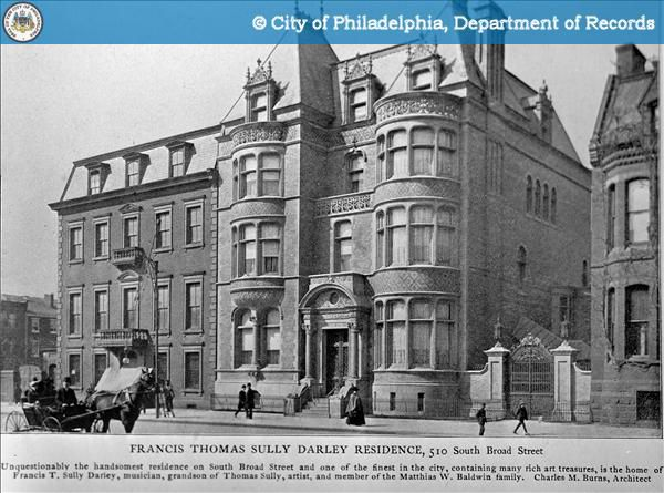 The exterior of the Moore Residence in Philadelphia. This is an old black and white photograph.
