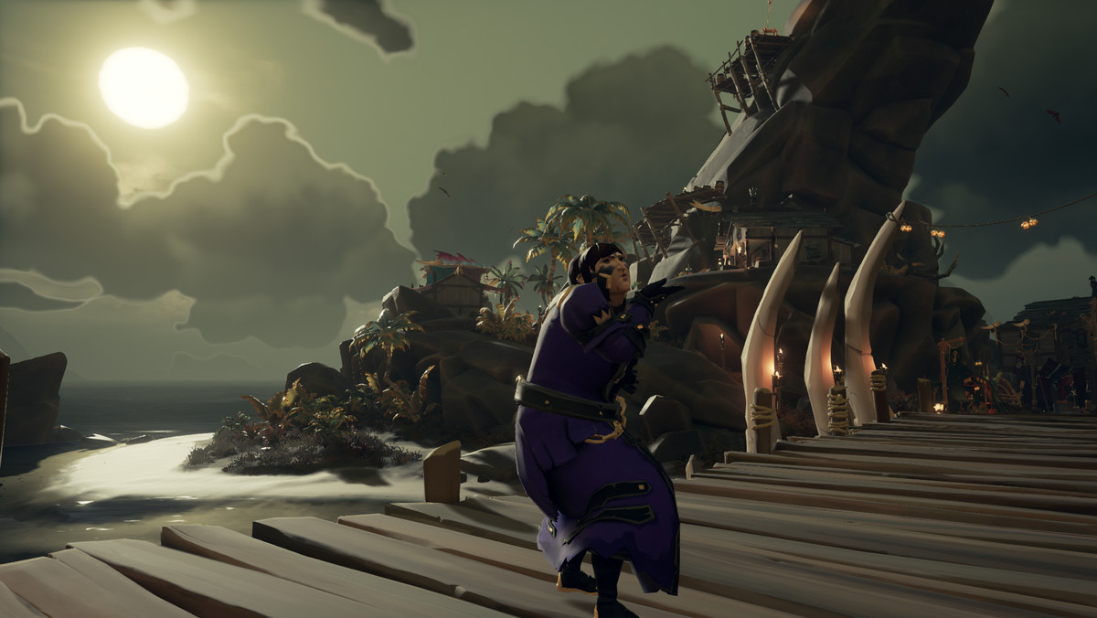 Image: Sea of Thieves - a player blows a kiss from the dock