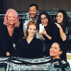 A whole pre-Oscars round of hair & makeup for Jessica Chastain at a 7am photoshoot. (Photo: @elizabethstewart1)